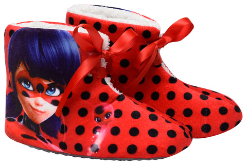 Miraculous polka boots slippers with bow detail