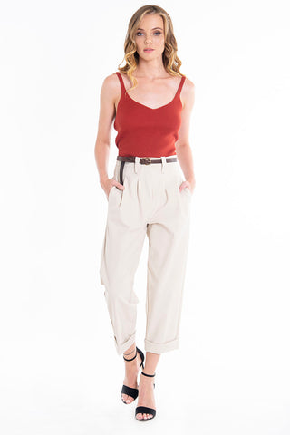 Tensione in high waist pleated luxury cropped trousers