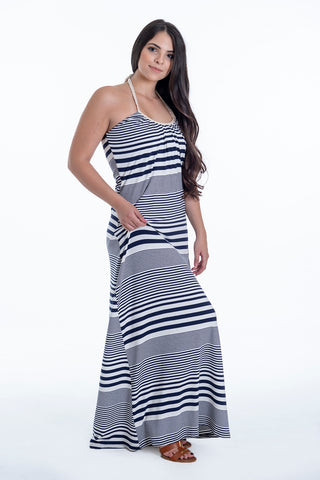 Hype maxi robed halterneck dress in stripes