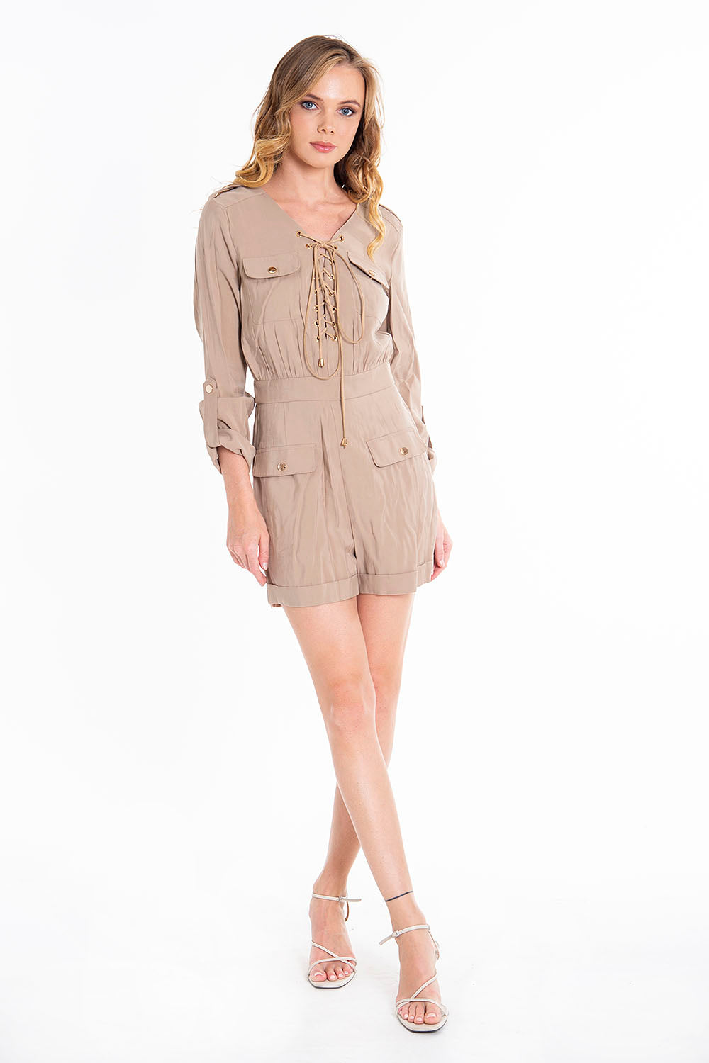 Trash and Luxury safari playsuit with front tie