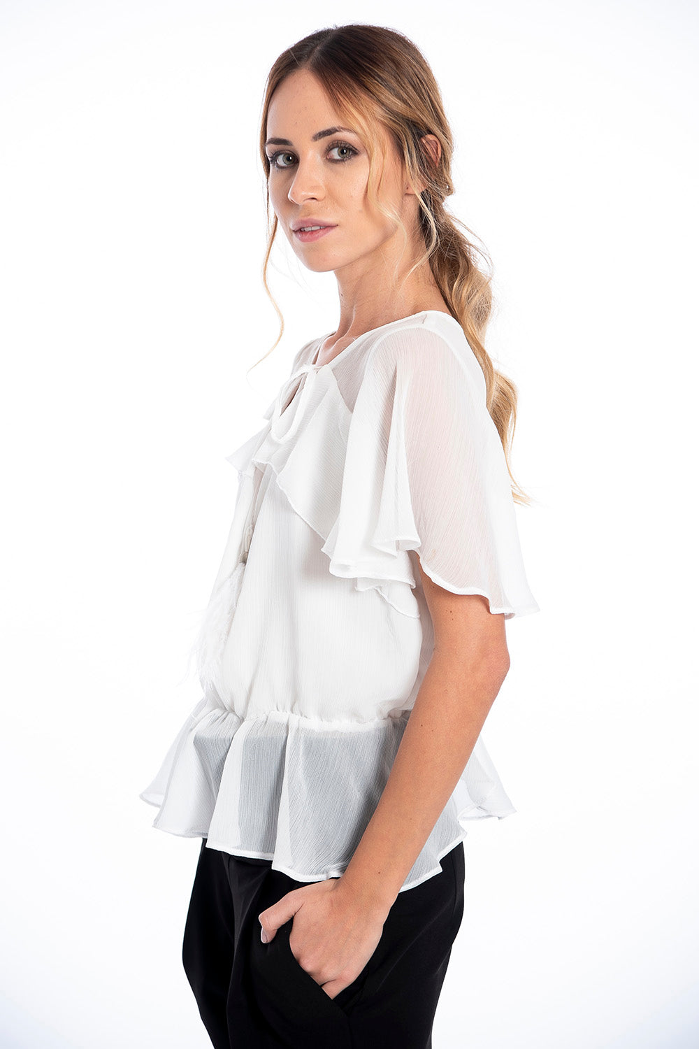 Galita ruffles and neck tie short sleeves top