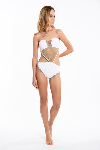 F**K crochet trikini and trim detail