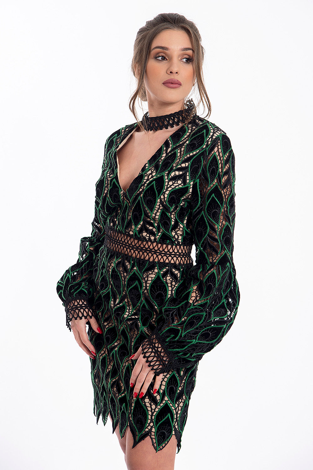True Decadance full lace mini dress with choker detail