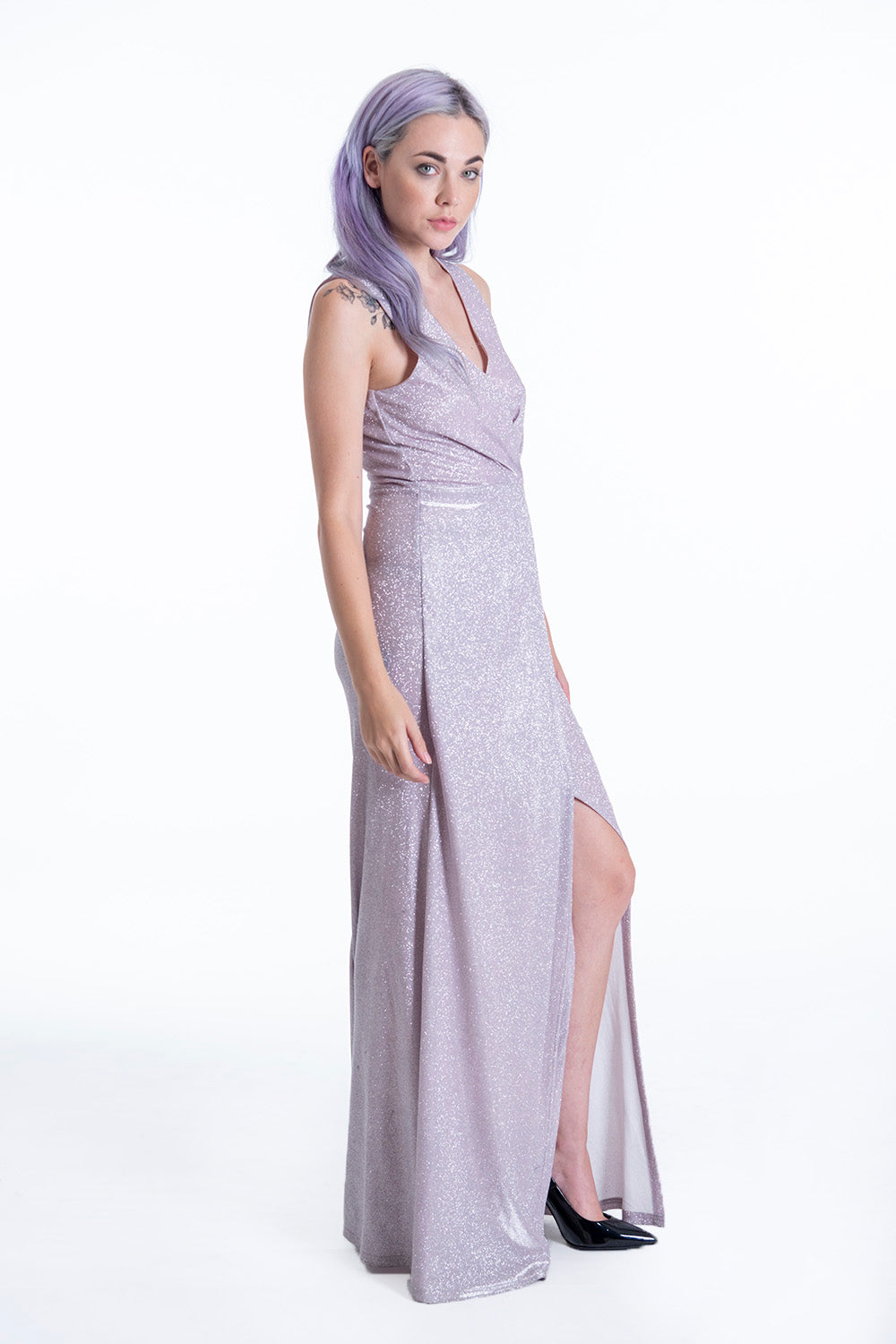 Maxi pink metallic dress with plunge front