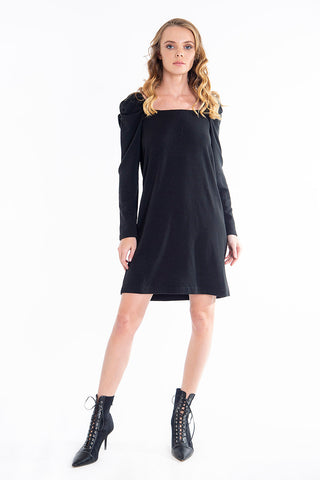 Basic knit dress with puff sleeves