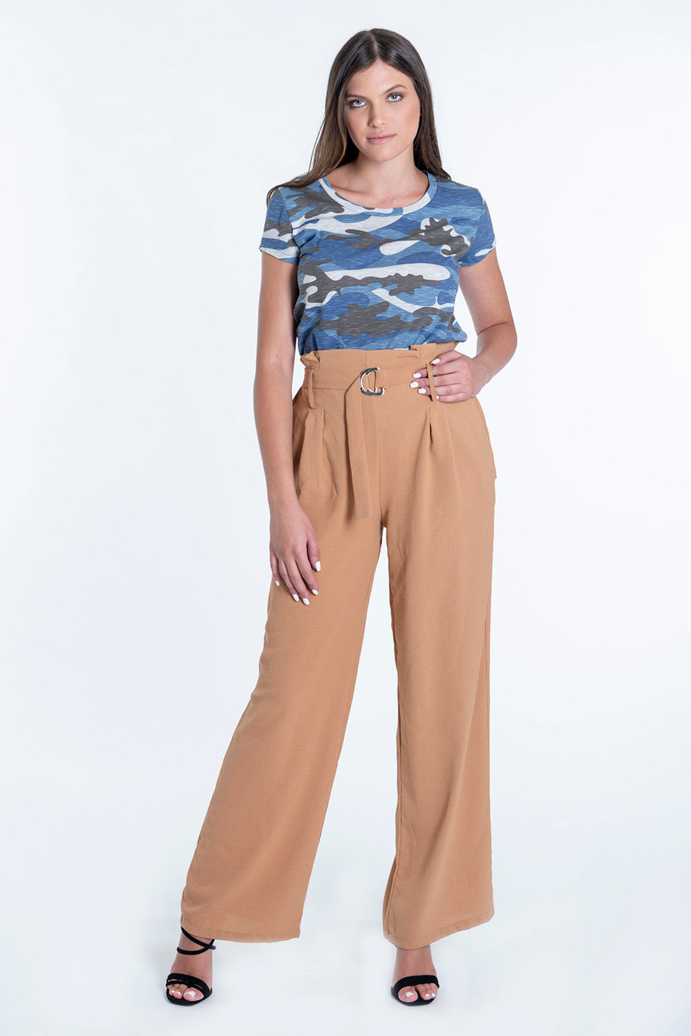 Waistband paperbag trousers with buckle belt