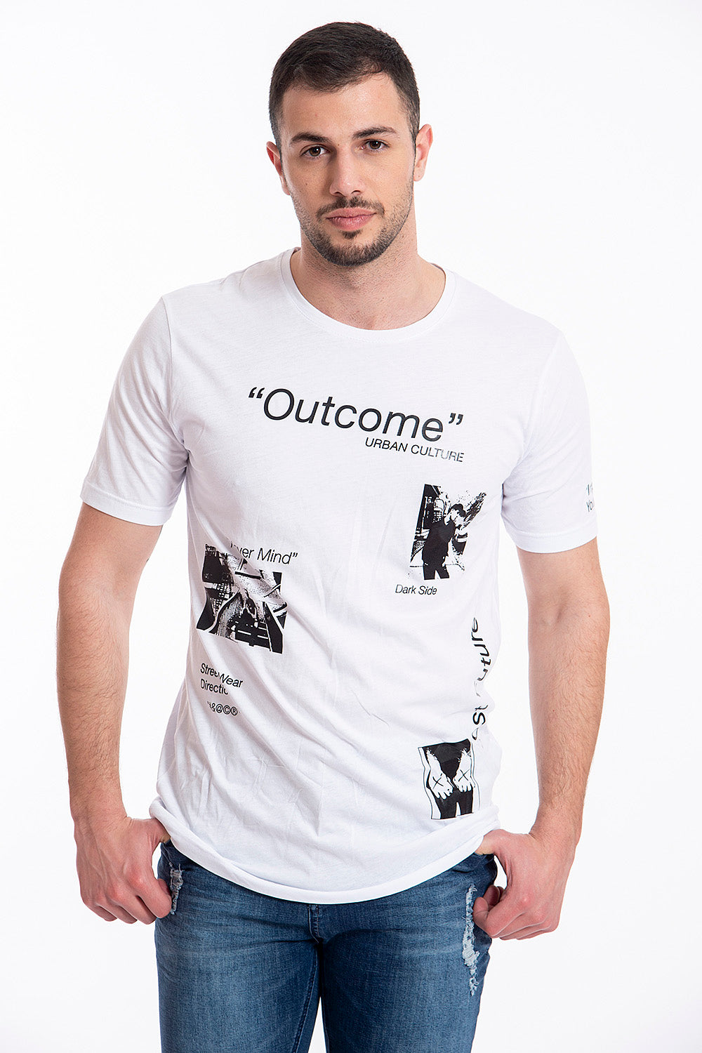 Outcome white t-shirt with texts and symbols