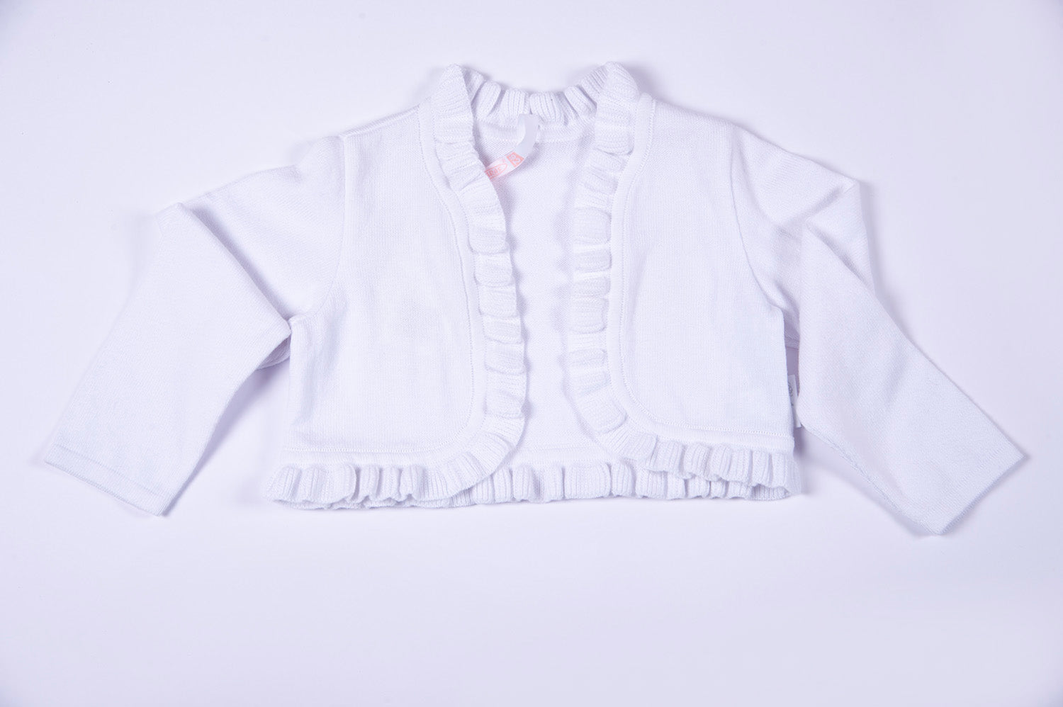 Barbaras open cardigan with frills
