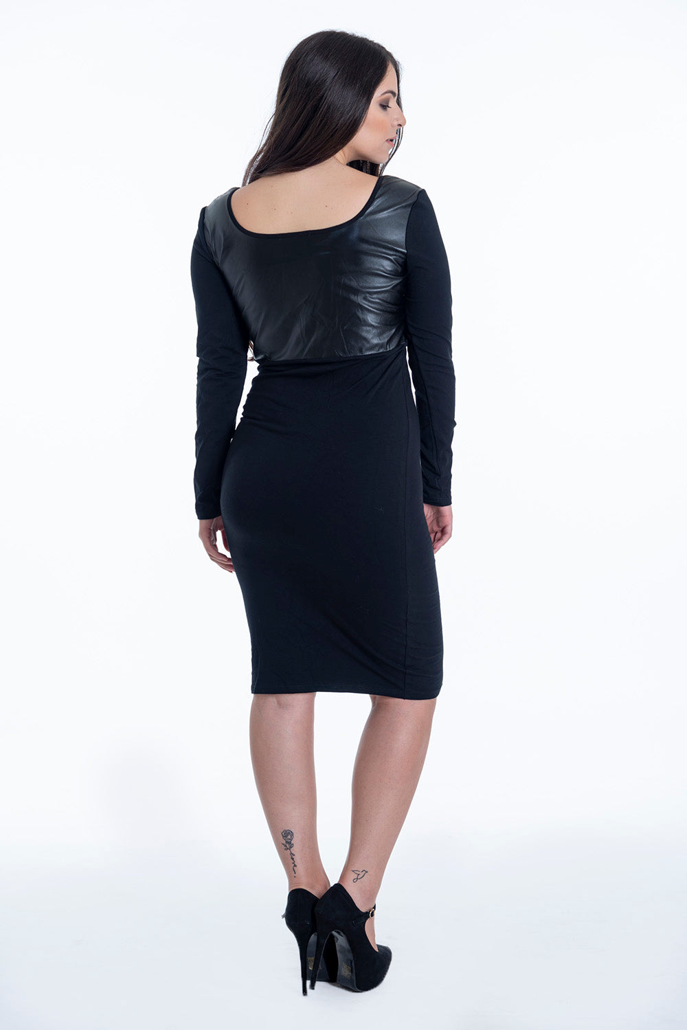 Bojo scoop neck dress with leather top panel