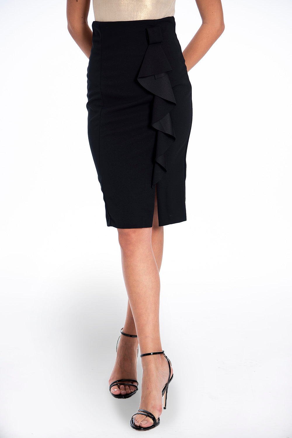Rinascimento pencil skirt with front ruffles