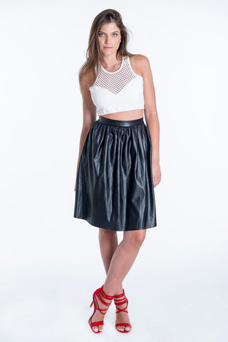 Bojo leather high waist pleated skirt