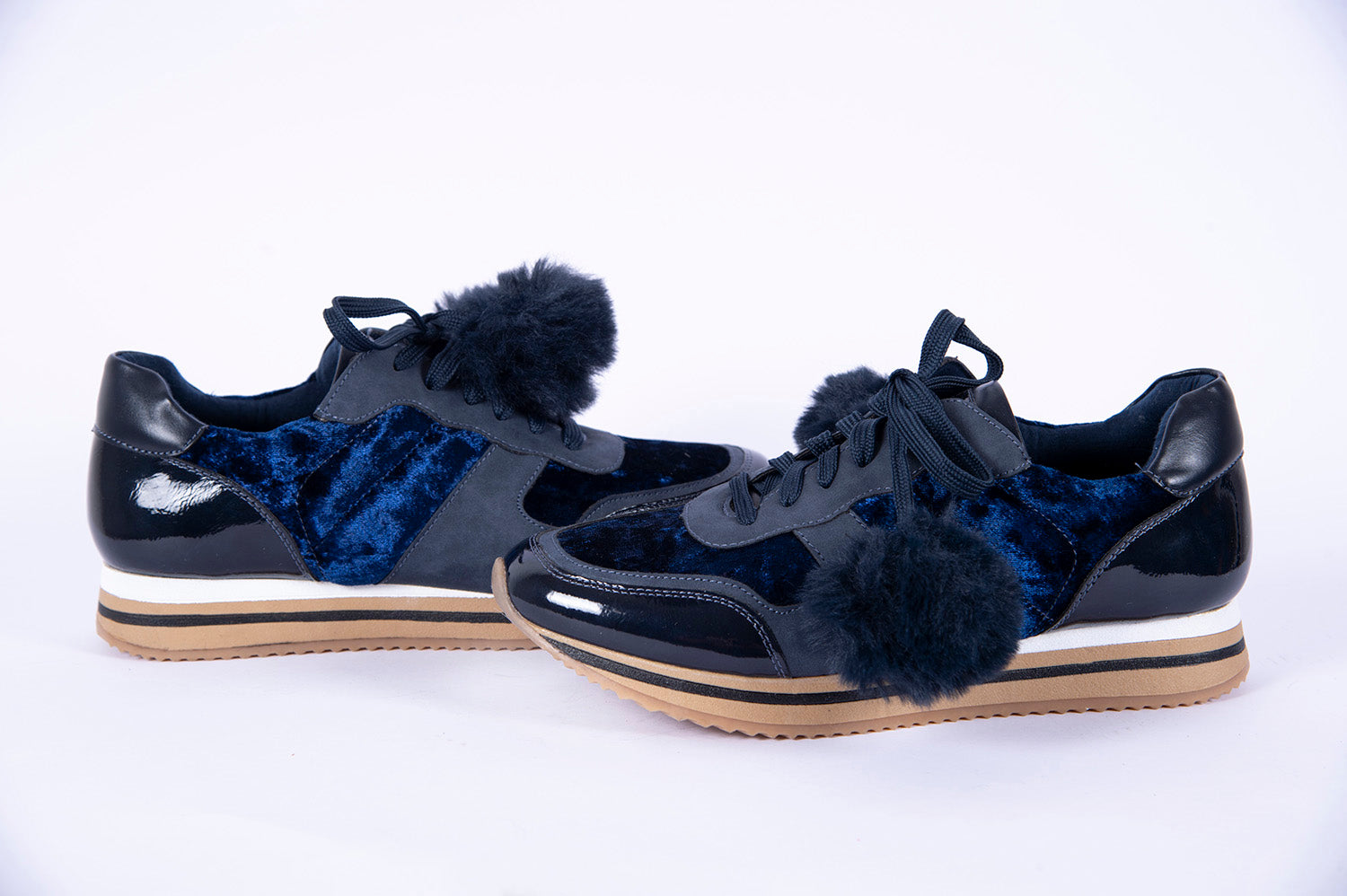 Fabs velvet sneakers with bom bom tie details