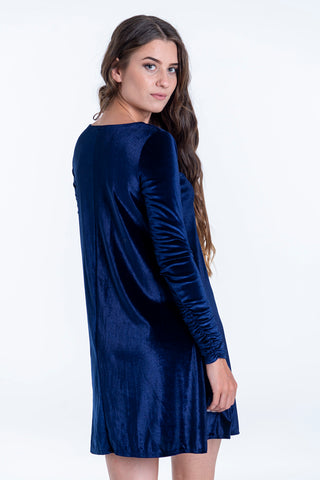 Pixie velvet loungewear dress with ruched sleeve