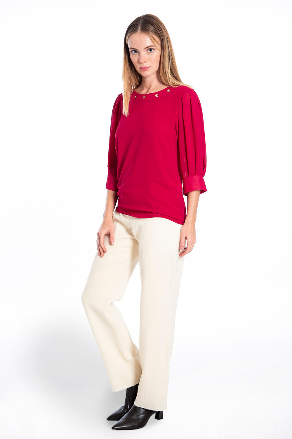 Patrizia Segreti crew neck top with studs