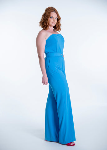 núa strapless belt jumpsuit with wide leg