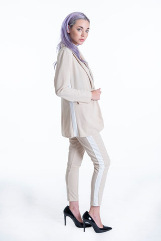 Long beige skinny trousers with side stripe co-ord