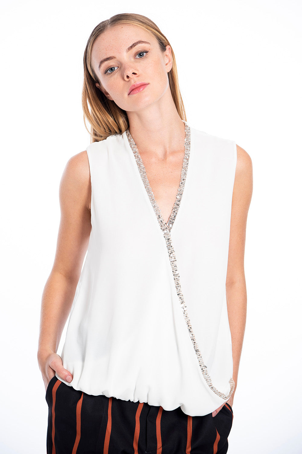 Sleeveless sequin and lace detail top