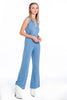 Kontatto vibrant blue jumpsuit in wide leg and soft fabric