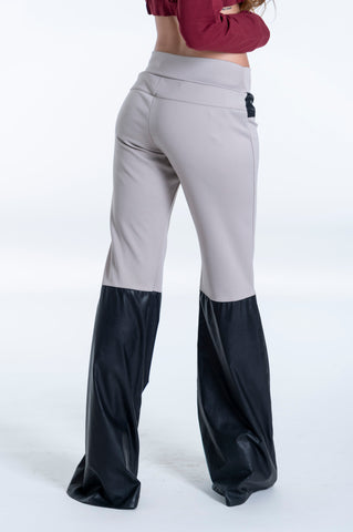 Seva wide leg trousers with leather contrast