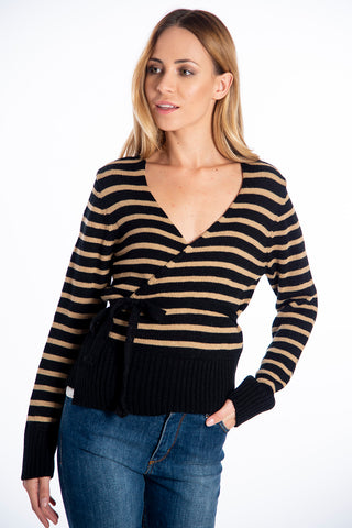 Infinity Knitwear stripes waist wrap knit top