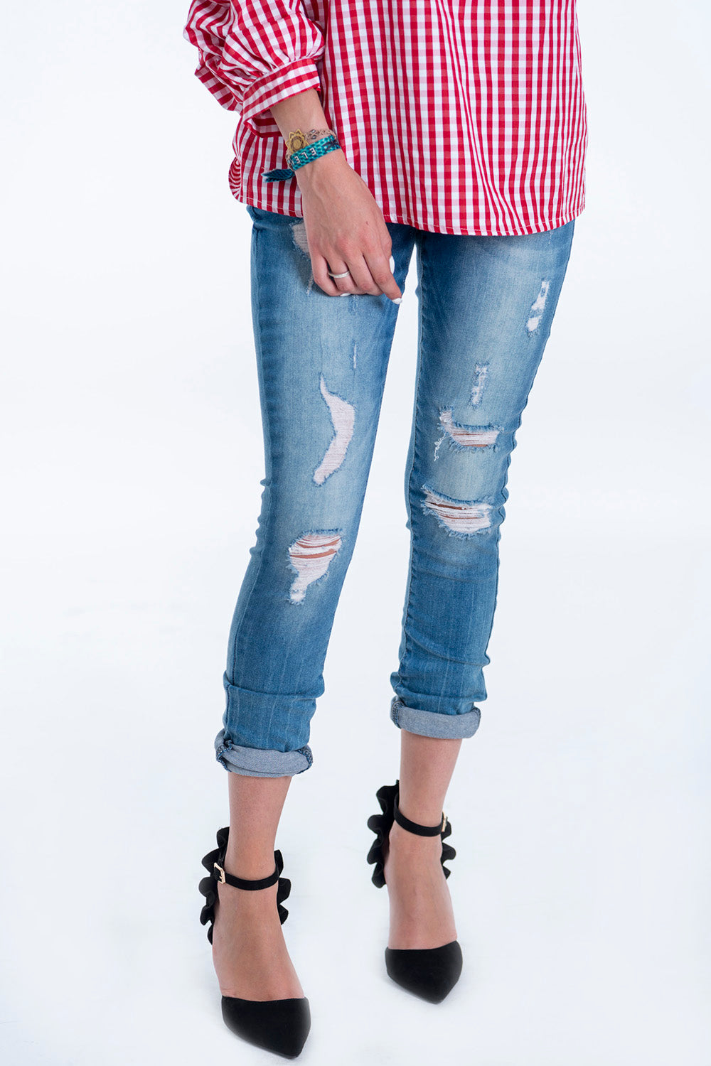 Skinny girlfriend style ripped jeans
