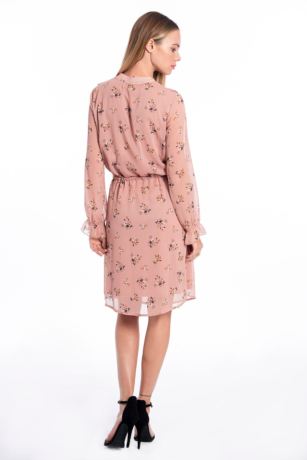 Patrizia Segreti ruffles chiffon dress in ditsy floral