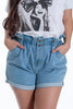 High waisted denim shorts with waistband