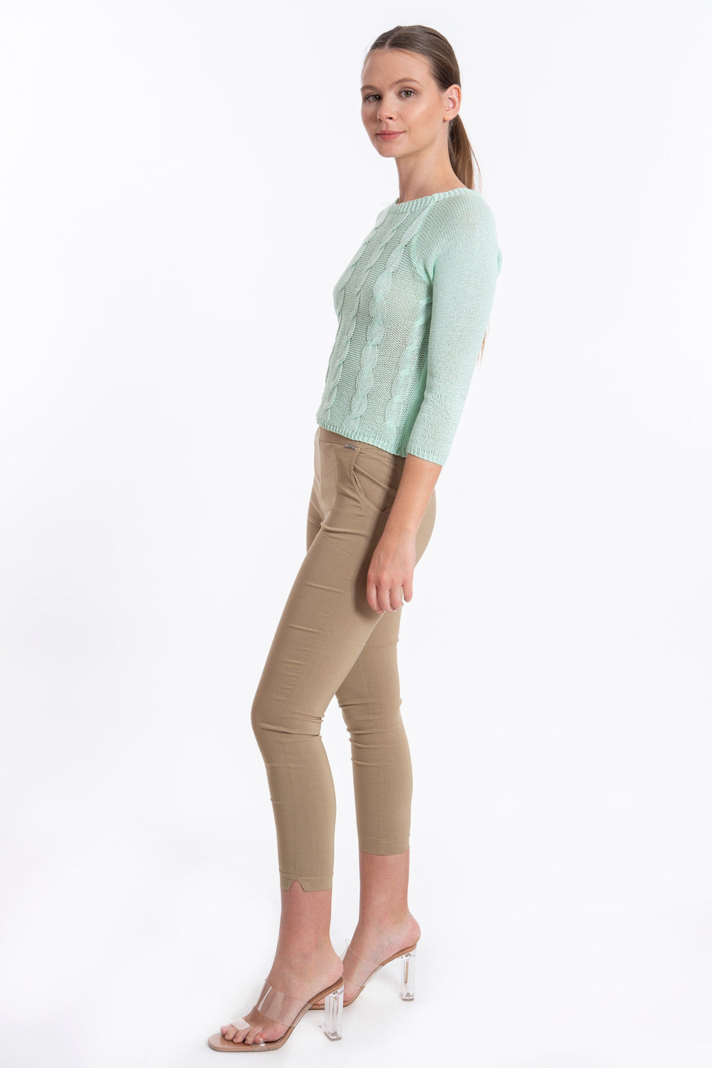Akè skinny stretcy cotton beige trousers