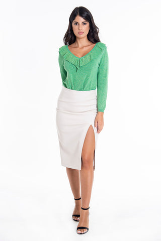 Glamorous highwaisted leather pencil skirt with front split