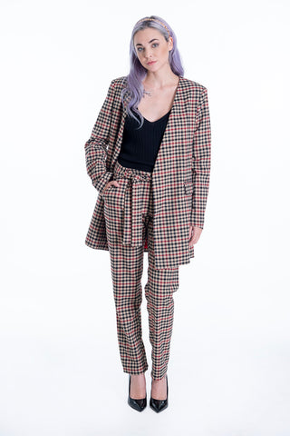 Milkwhite beige check co-ord blazer with padded shoulders