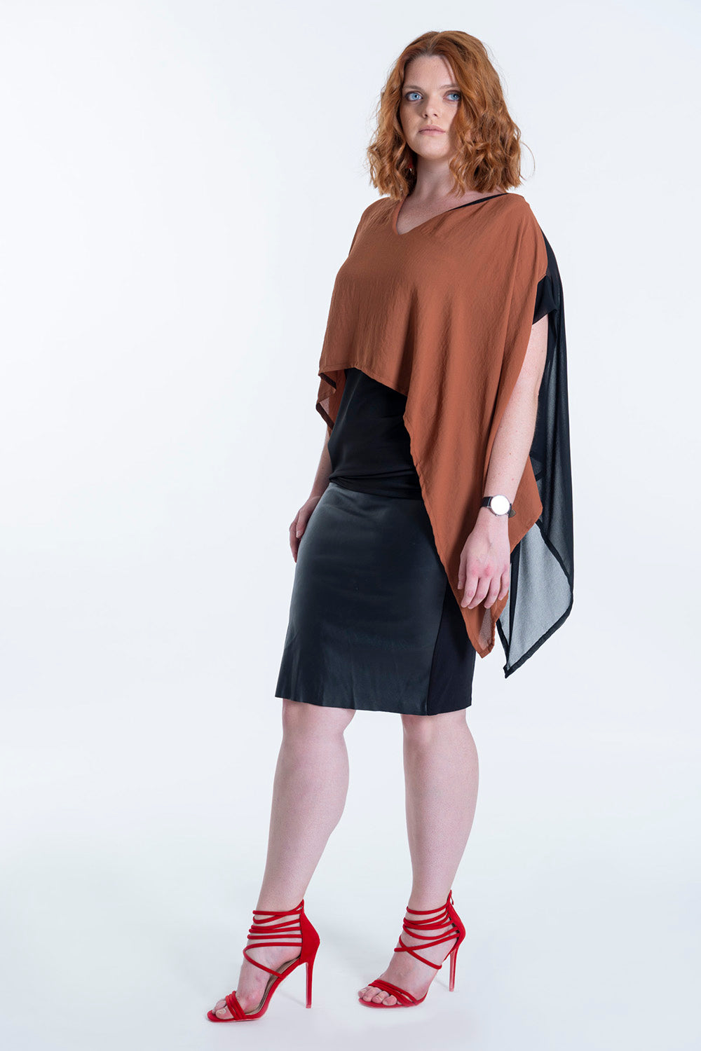 Seva asymetric chiffon top in colour block