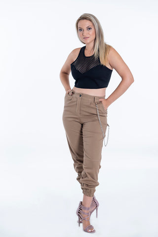 Cargo high waist trousers with back chain