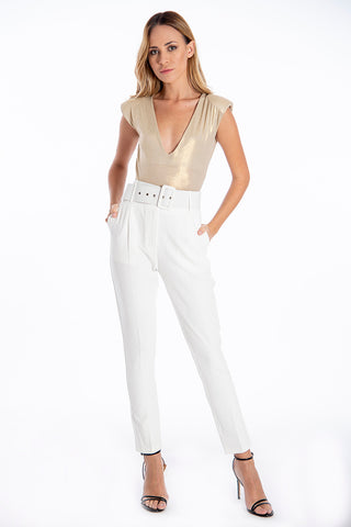 NúNu big belted high waist slim trousers