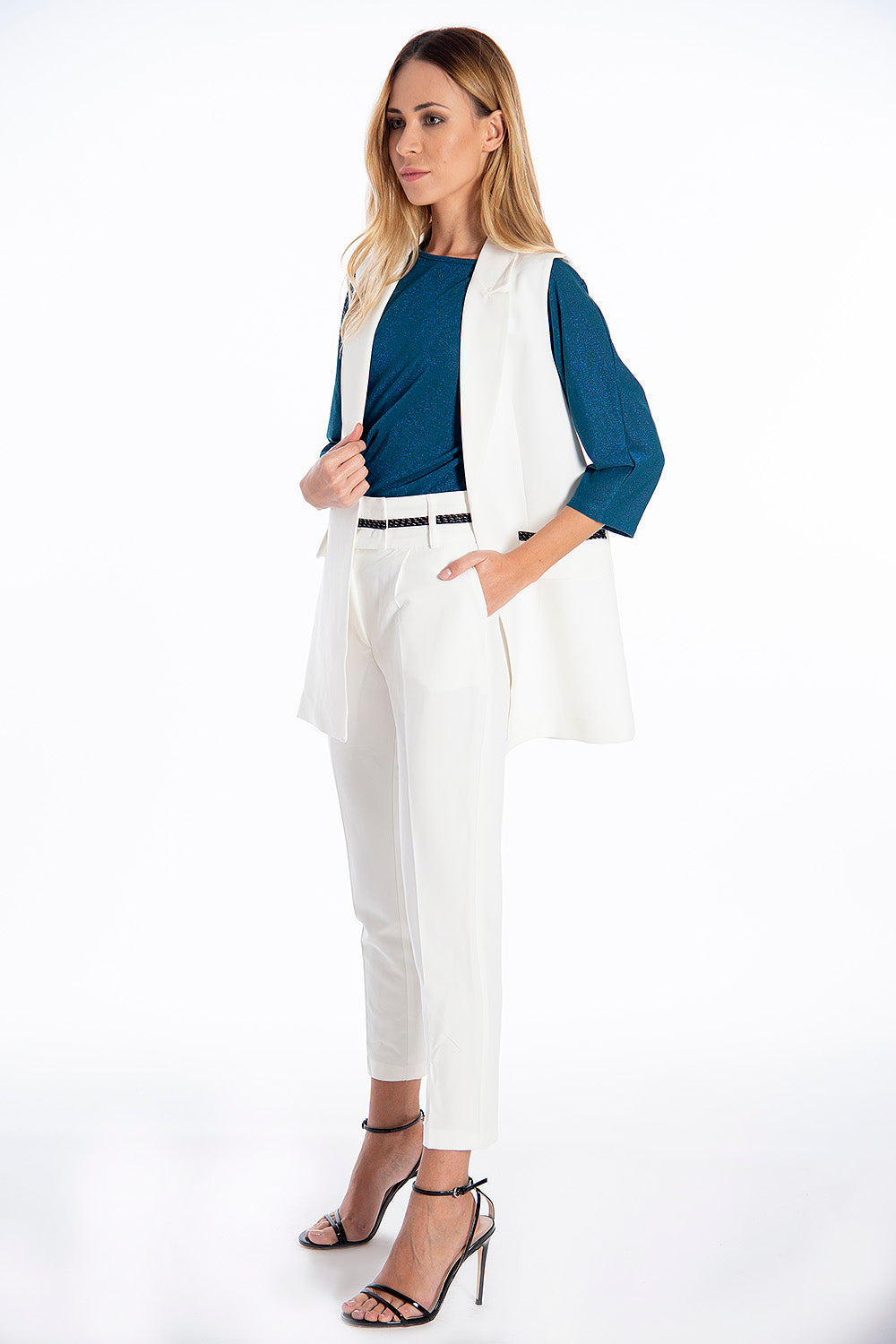 NúNu suited co-ord trousers with rope belt detail