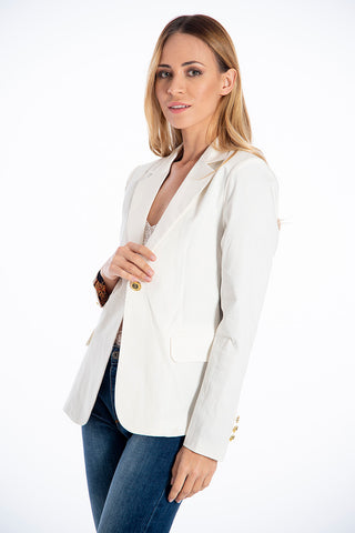 NúNu blazer with gold deco button and barroque lining