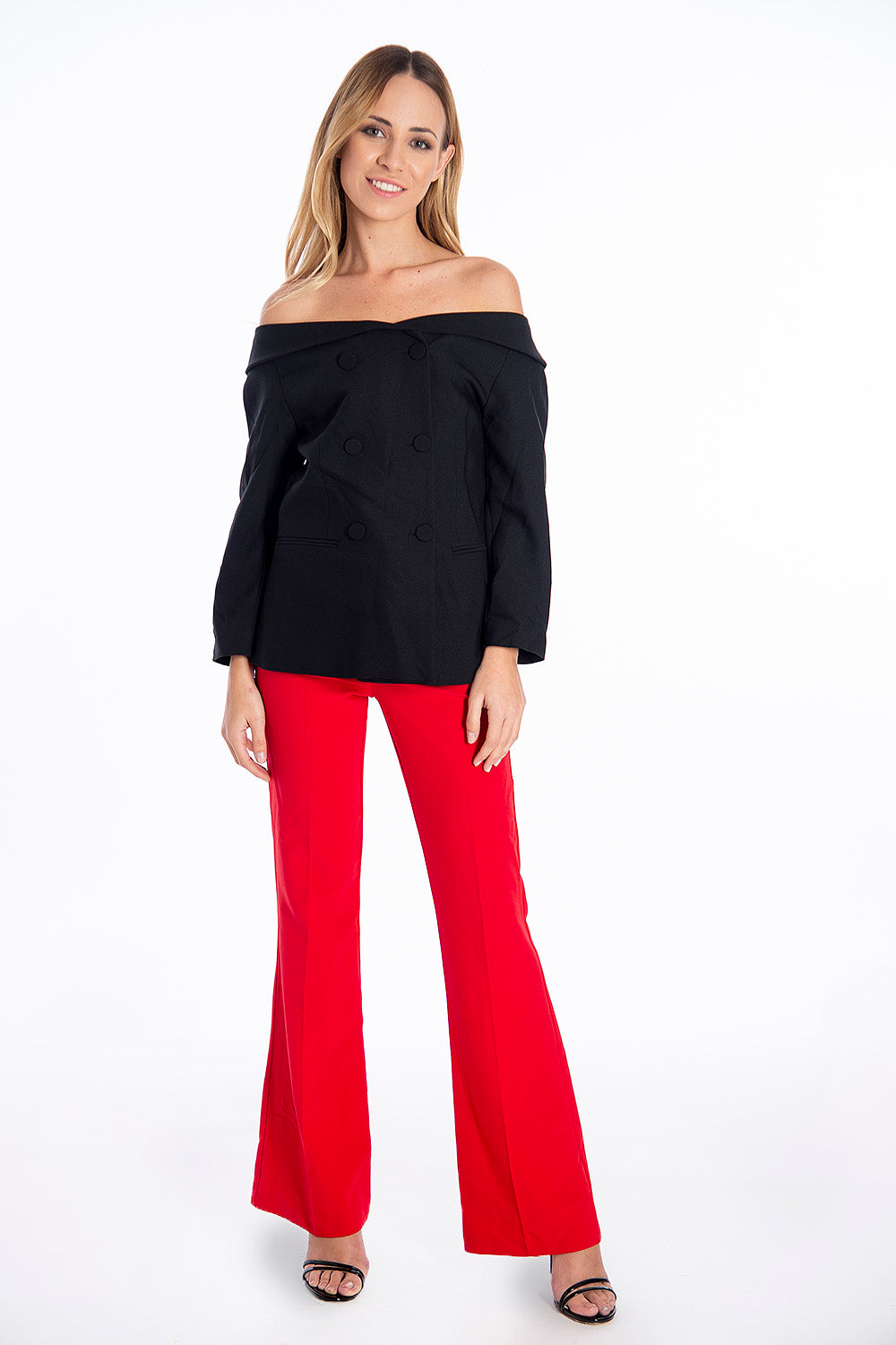 NúNu flare suit trousers with crease