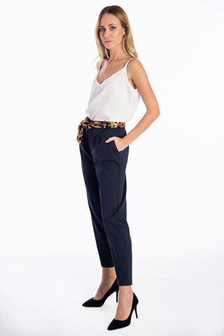 NúNu straight line pleated trousers with silk barroque belt