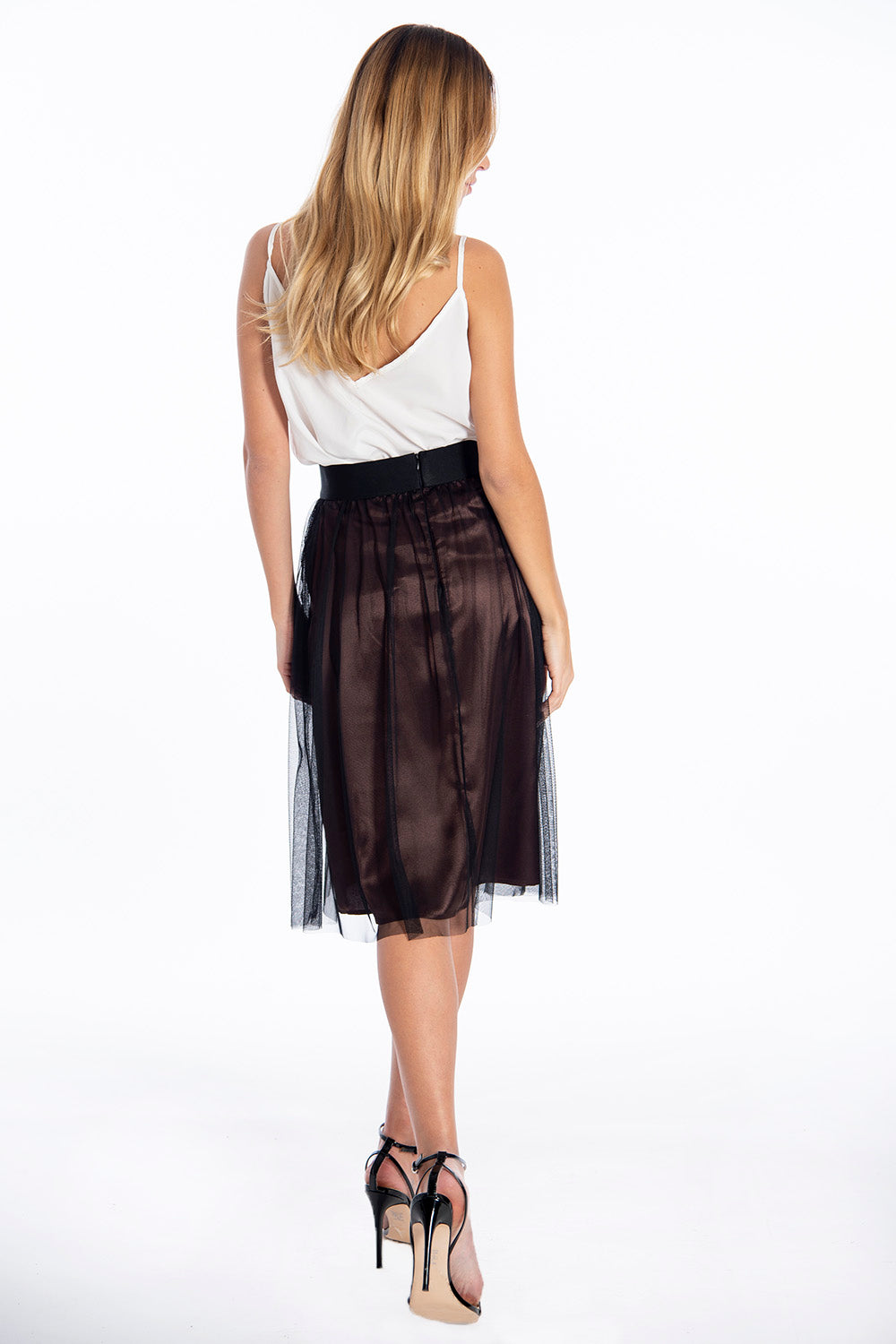 Féria tulle skirt with brown silky inner lining