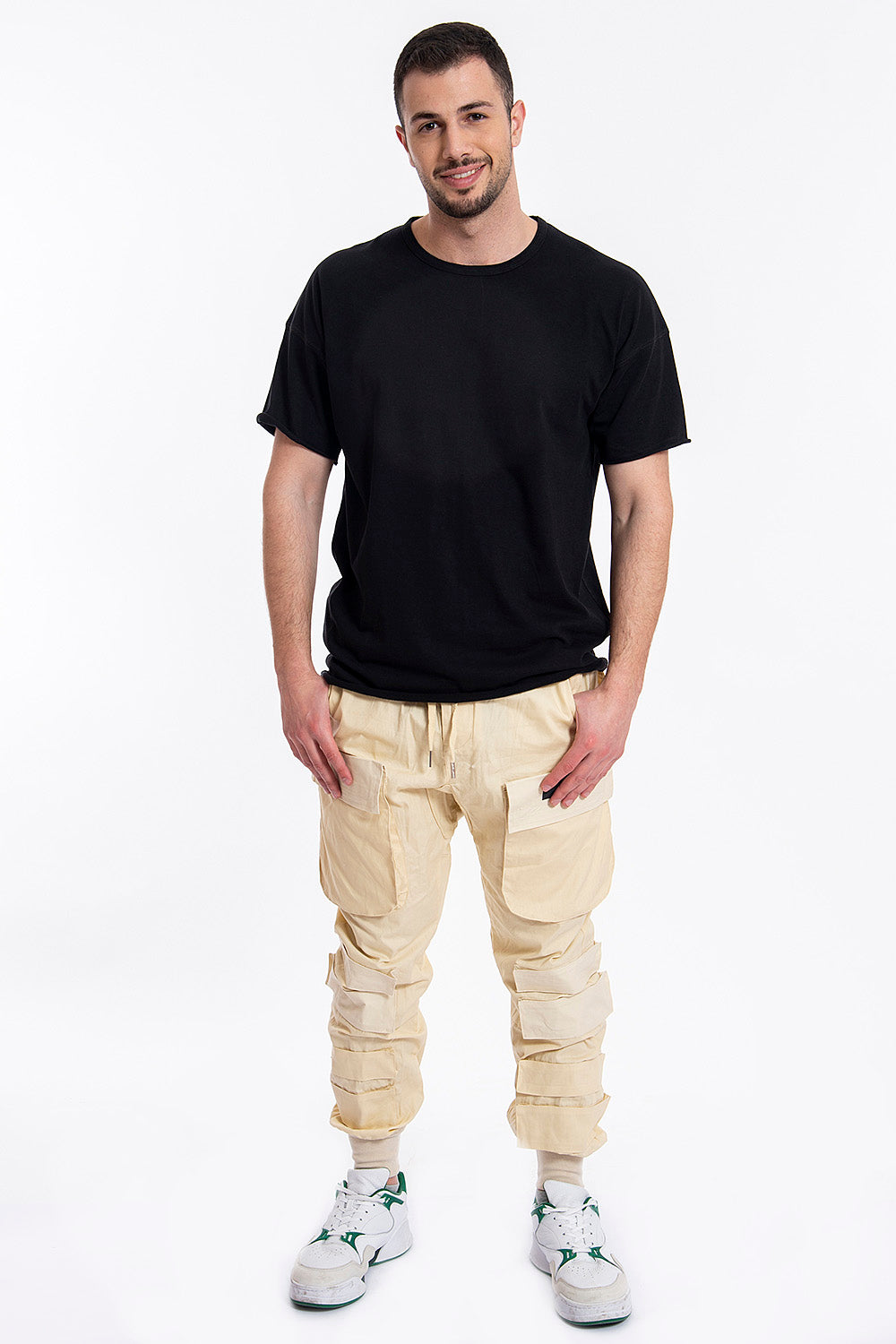 Cargo trousers with elasticated cuff