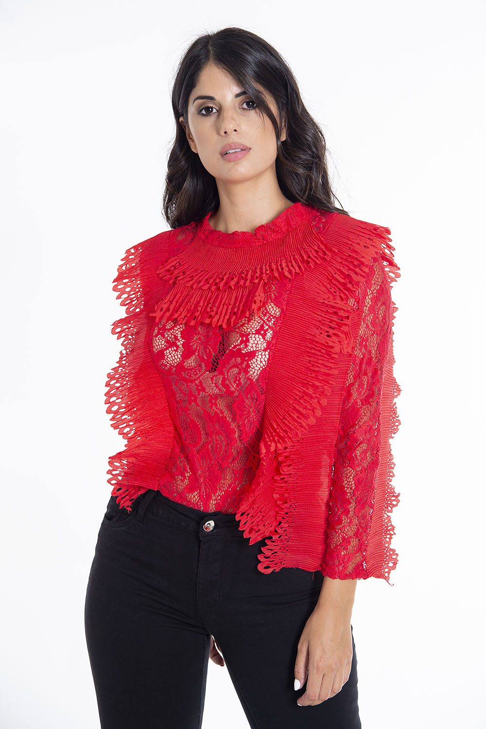 Lace long sleeved 3D frills body