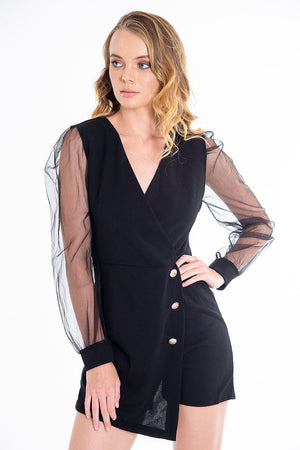 Long puff sleeves playsuit
