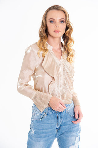 Paccio shimmer ruffles long sleeves shirt