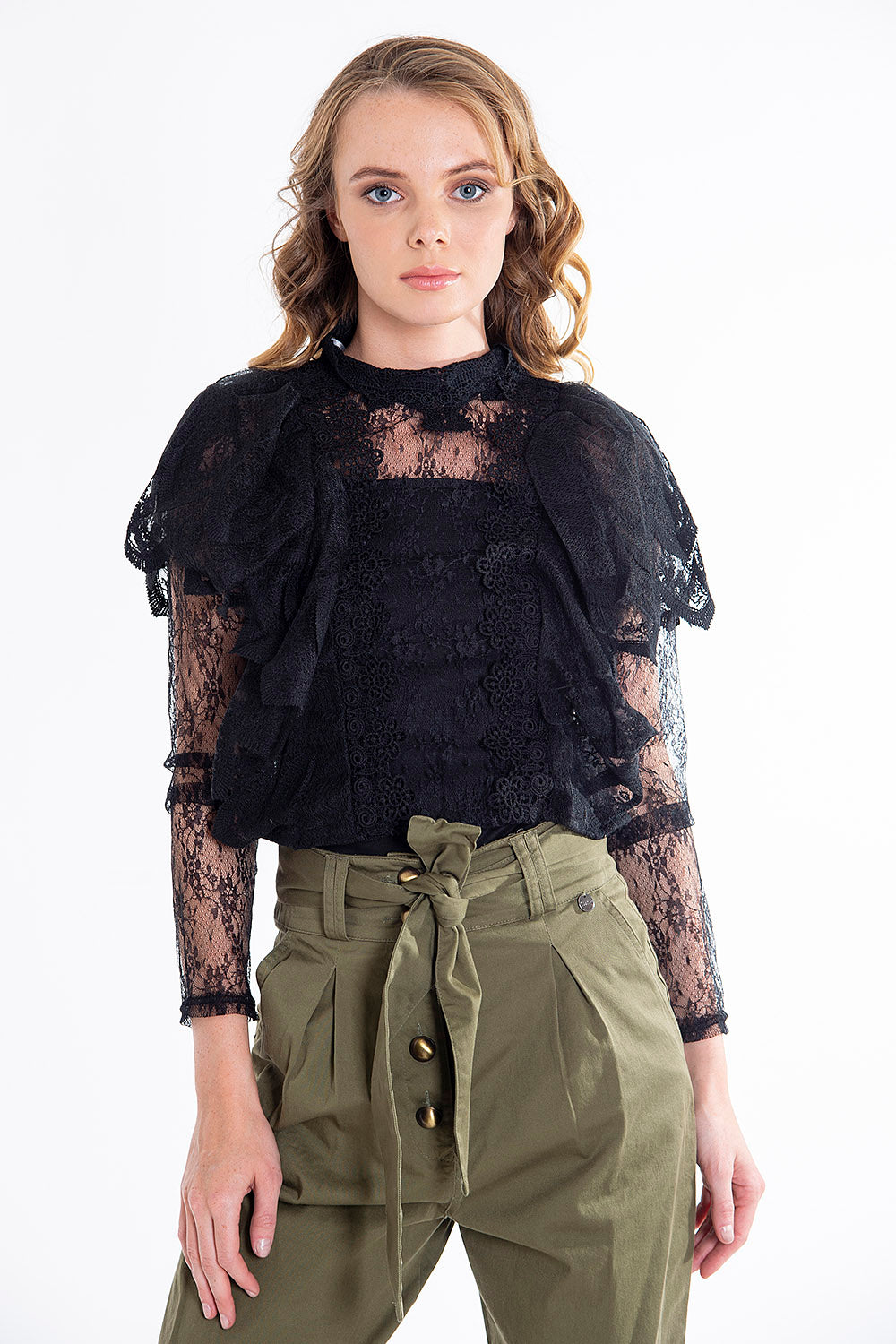 Extreme puff sleeve lace top