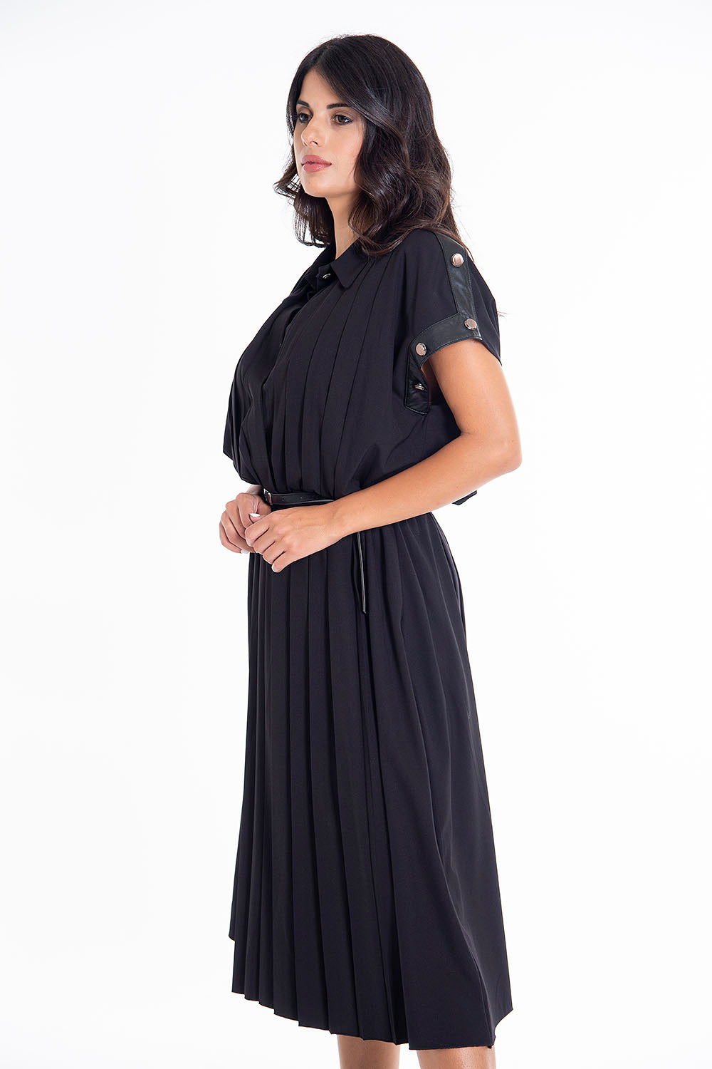 Teem oversized pleated dress with leather details