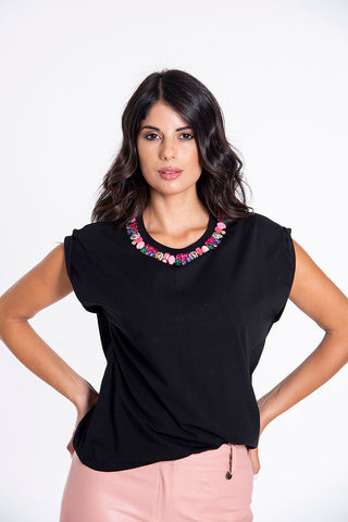 Trash and Luxury jewels neck top