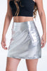 Silver mini leather skirt