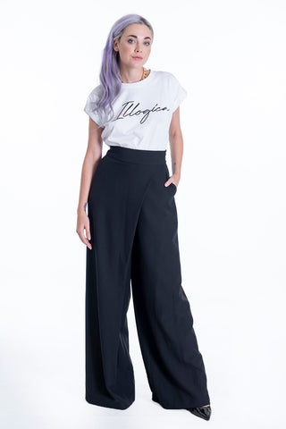 Lolamay high waist double breasted trousers in wide leg