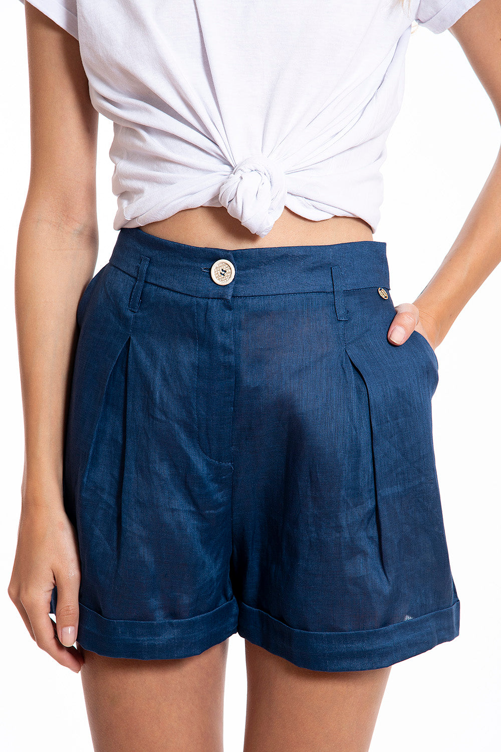 Roberta Biagi tapered linen shorts with pockets