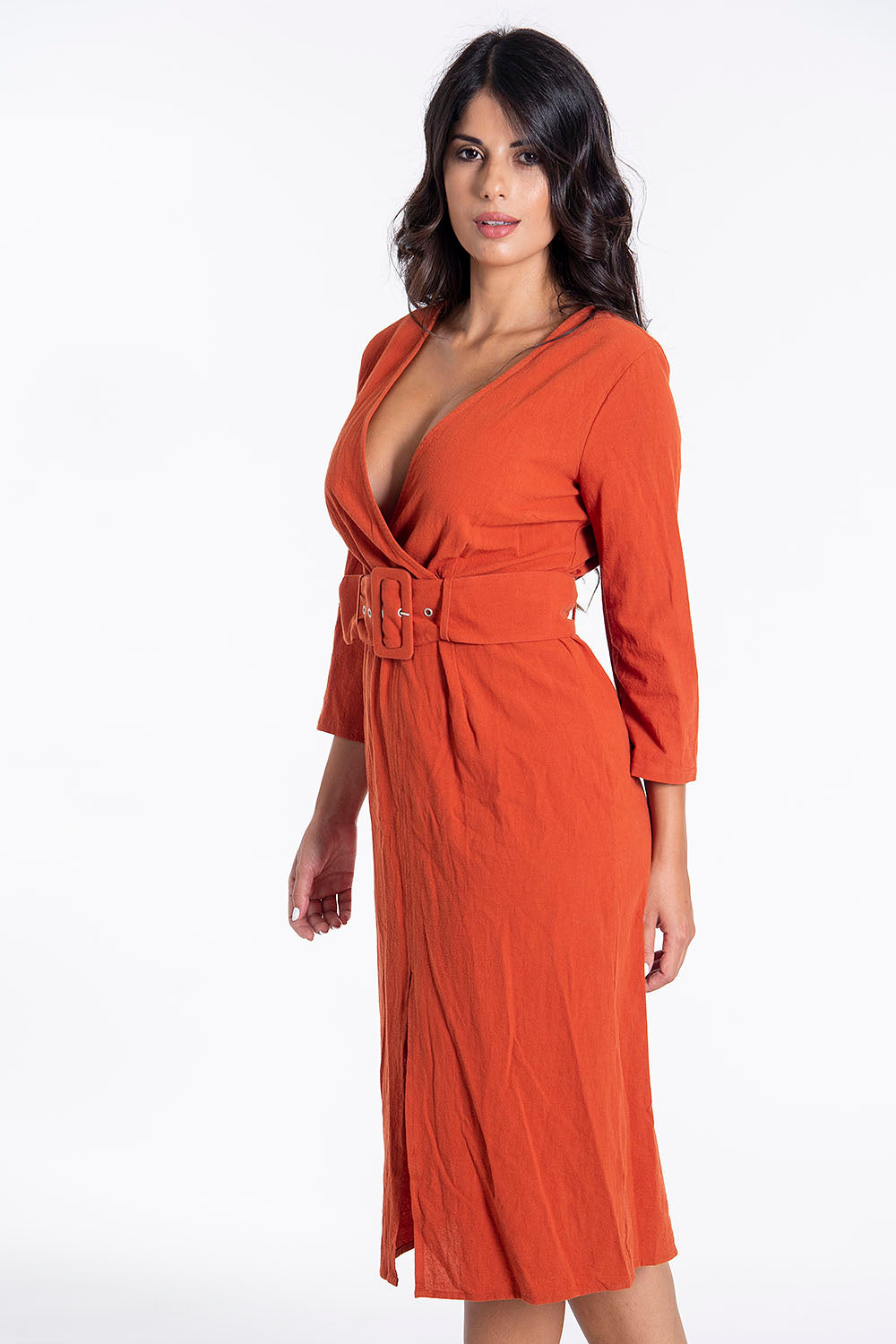 Glamorous suited belted midi dress with front split