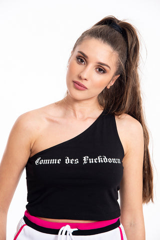 Comme des Fuckdown one shoulder cropped top